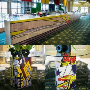 Graphics and decals used in an event space.